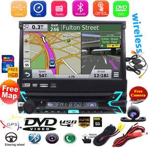 Bluetooth-7-034-Bildschirm-Autoradio-Mit-Dvd-Cd-Navigation-Navi-Gps-Usb-Sd-Mp3-1Din