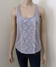 Hollister Women Tank Top Size Small Cami Gray Floral Embroidery Gray T-Shirt Tee