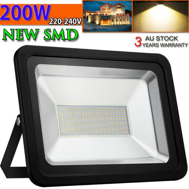 1 X 200W LED Flood Light Warm White Outdoor Lamp Garden Lighting Floodlights AU