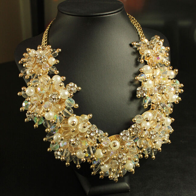 Collar women Bead Ronda yellow Perla 7 Moderno Original Noche Matrimonio KS 3