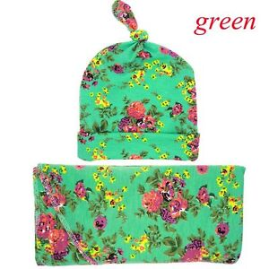Newborn Swaddle Cap+Blanket Set Knit Cotton Baby Floral Knotted Hat Burp Cloth