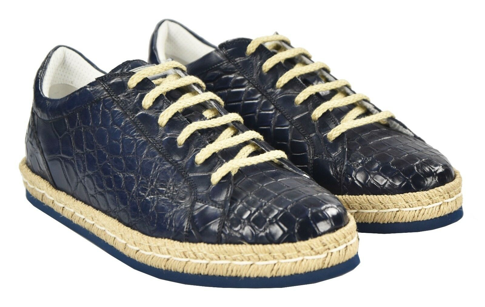 NEW KITON NAPOLI SNEAKERS SHOES 100% LEATHER CROCODILE SIZE 9 US 42 KSC18