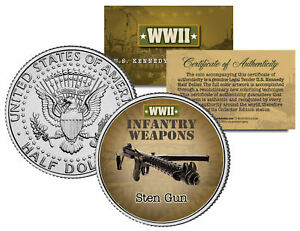 STEN-GUN-WWII-Infantry-Weapons-JFK-Kennedy-Half-Dollar-U-S-Coin