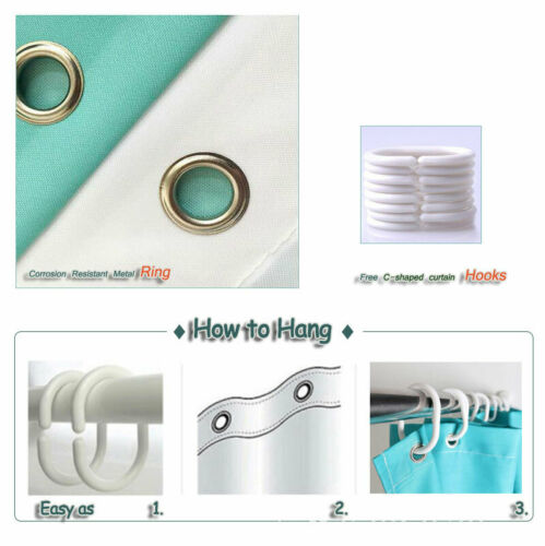 Ring Feather Waterproof Bathroom Polyester Shower Curtain Liner Water Resistant
