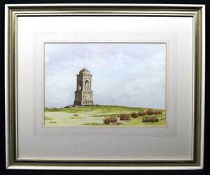 Original-Irish-Art-Watercolour-Painting-Mussenden-Temple-Signed-c1970