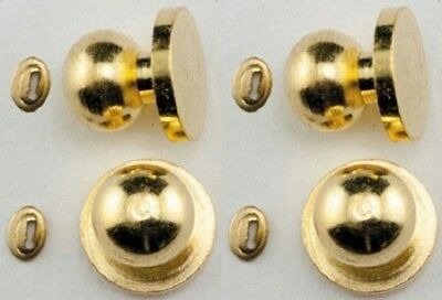 4 pack Dollhouse Miniature Door Knobs w//Keyhole -- 1:12 Scale Brass #05608