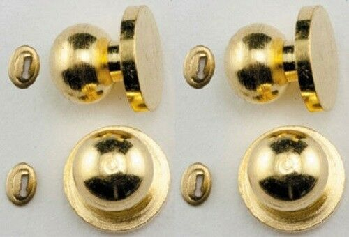 -- 1:12 Scale Dollhouse Miniature Door Knobs w//Keyhole 4 pack Brass #05608