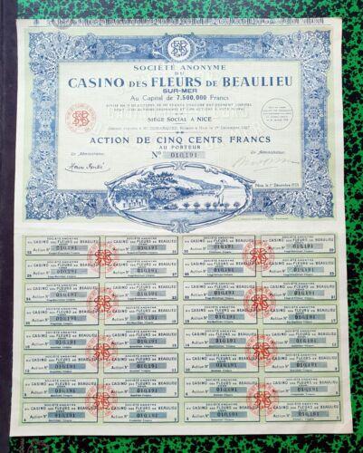 Beaulieu Dépt 06 Mer /& Nice Belle Déco du Casino des Fleurs du 01//12//1928