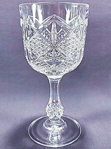 5 Vintage Clear Cut Pressed Glass Stemware Water Goblet Wine Glasses