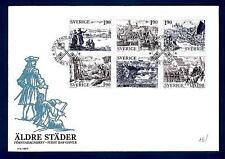 SWEDEN - SVEZIA - BUSTA - 1984 - Antiche città. Riproduzione di vecchie incision
