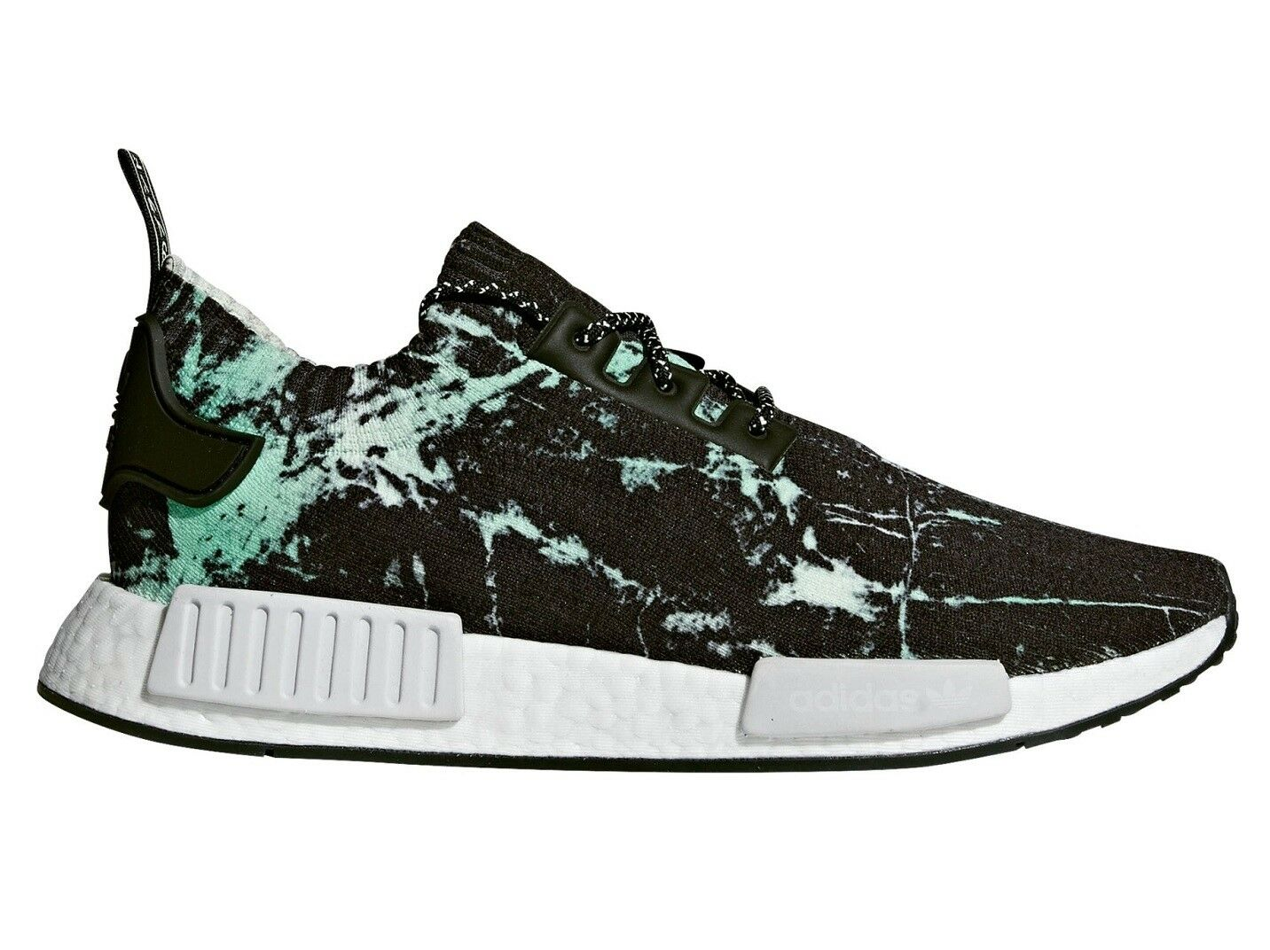 Adidas NMD R1 PK Marble Mens BB7996 Aero Green Black Primeknit shoes Size 5