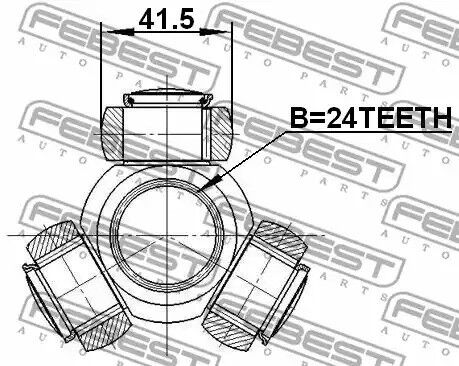 Drive shaft FEBEST 2116-TC718TDCI Tripod Hub