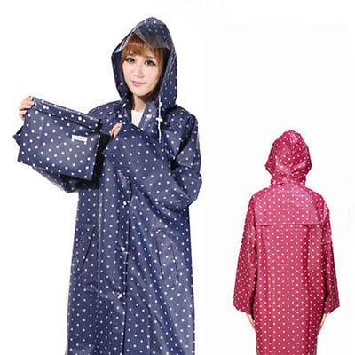 Polka Dots Women Girl Waterproof Raincoat Pocket Rainwear Poncho Jacket Blue/Red