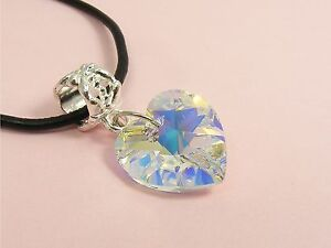 Genuine-LEATHER-Cord-NECKLACE-made-with-SWAROVSKI-Crystal-AB-Heart-STAR-Moon