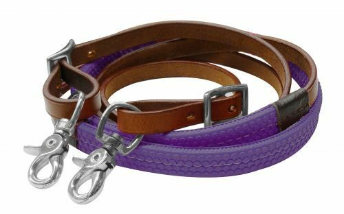 Showman Leather Western Training Everyday Barrel Reins Rubber Grip-4 colors