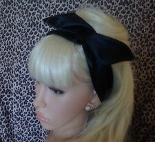 BLACK SATIN BENDY WIRED WIRE HAIR WRAP SCARF HEAD BAND 50'S 40'S VINTAGE STYLE