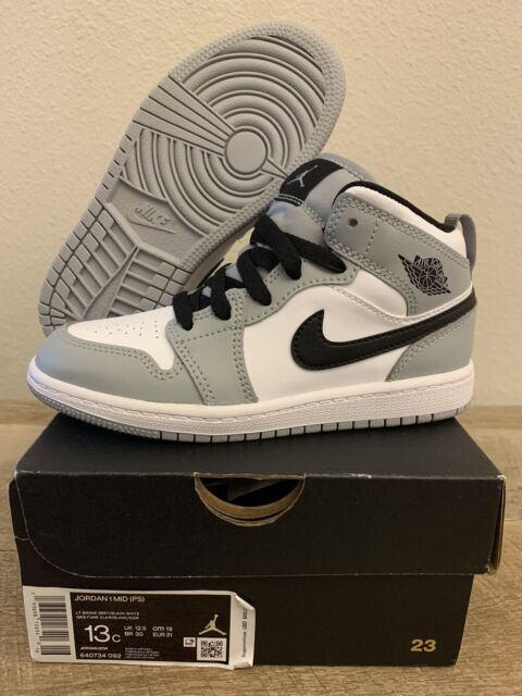 Nike Air Jordan 1 Mid PS Light Smoke Grey 640734-092 Preschool Size 2y Youth