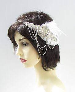 White Silver Feather Headband 1920s Great Gatsby Diamante Chain Vtg Flapper 461