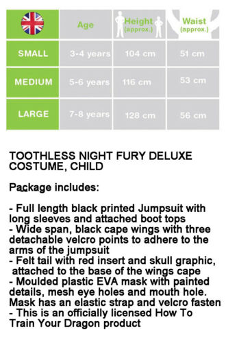 Rubies Boys How to Train Your Dragon 3 Toothless Costume Night Fury Book Week M