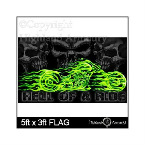 5/' x 3/' FLAG Hell Of A Ride Skull Pirate Biker Party Large 5ftx3ft Flags New