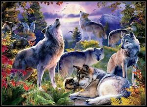 Wolf-Pack-Chart-Counted-Cross-Stitch-Pattern-Needlework-Xstitch-craft-DIY