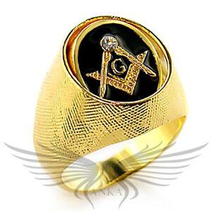 Men-039-s-Masonic-Freemason-Ring-Gold-Plated-Top-Grade-Crystal-Spinning-Top-8X025