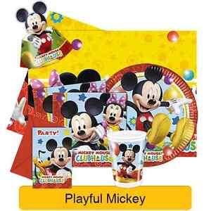 Disney-Mickey-Mouse-Jugueton-Fiesta-De-Cumpleanos-Vajilla-Globos-amp-Decoraciones
