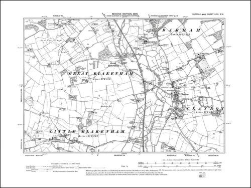 old map Suffolk 1905 66SW repro Great /& Little Blakenham Claydon