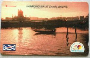 Malaysia-Used-Phone-Card-Visit-ASEAN-Year-1992-Kampong-Air-At-Dawn-Brunei