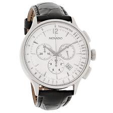 Movado Circa Series Mens Black Leather Swiss Chronograph Quartz Watch 0606575