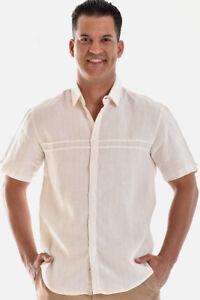 Mens-Bohio-100-Linen-Ivory-Casual-Short-Sleeve-Shirt-S-2XL-MLS758
