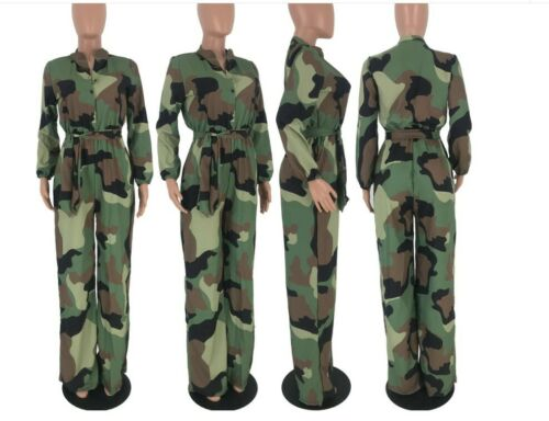 Women Camouflage Print Long Sleeve Button Turn Down Straight Sashes Jumpsuit R11