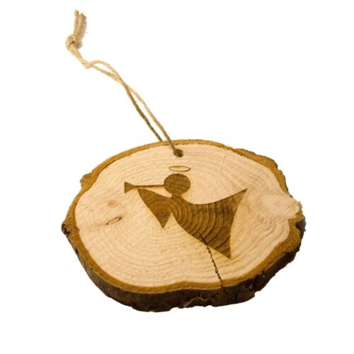 Hanging Wooden Ornament. Fairy Log Slice Christmas Tree Decoration Angel