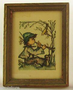 Hummel-Singing-Lesson-Print-Mini-Framed-Wood-Picture-Frame-Vintage