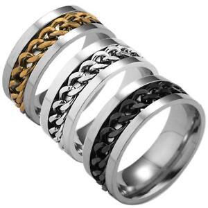 Size 7 11 Men039s Spinner Stainless Steel Wedding Rings Gold
