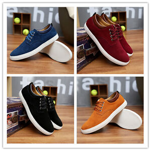 New Men's leather fashion Suede sneakers lace casual shoes large size shoes