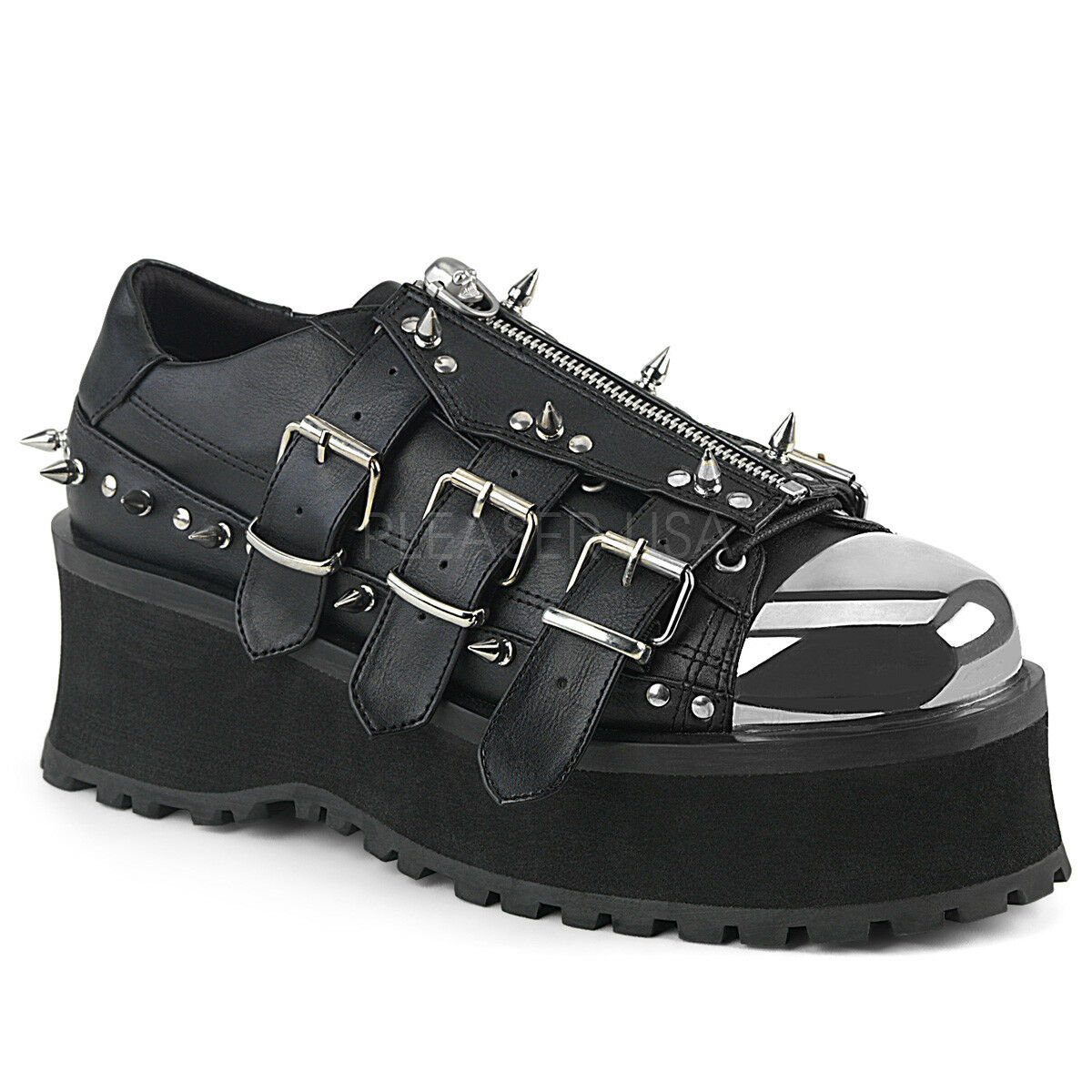 GRAVEDIGGER-03  UNISEX PUNK GOTH RAVE CHROME PLATE TOE CAP STUDDED  WEDGE OXFORD