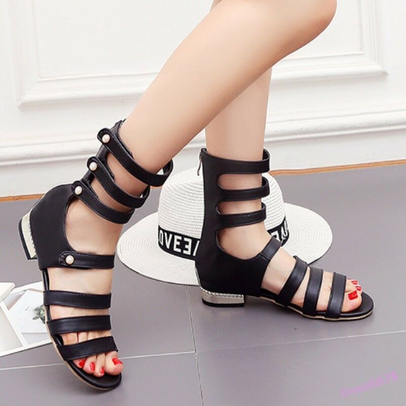 Gladiator Woman Sandals shoes Open Toe Mid-Calf Boots Hollow Out Pearl Flat New