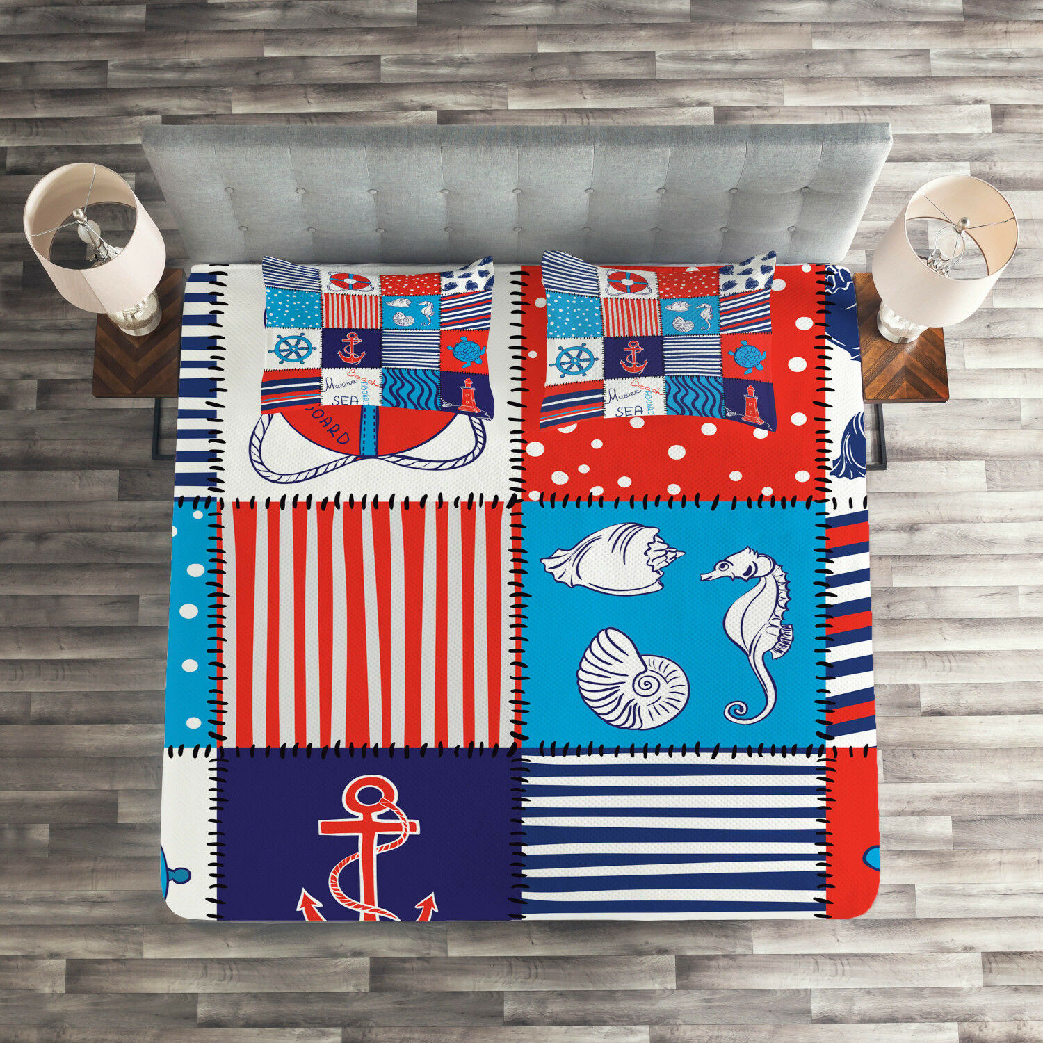 Geometric Quilted Coverlet & Pillow Shams Set, Anchor Helm and Fish Print