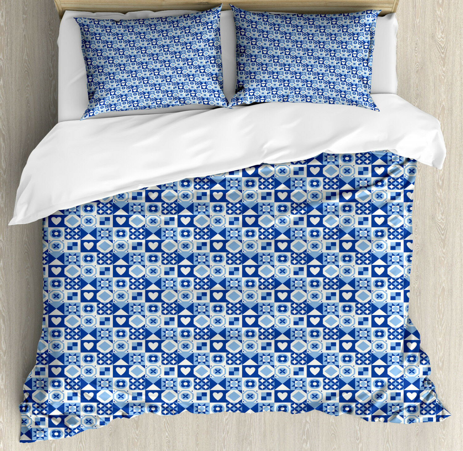 Navy bluee Duvet Cover Set with Pillow Shams Abstract Grid Squares Print