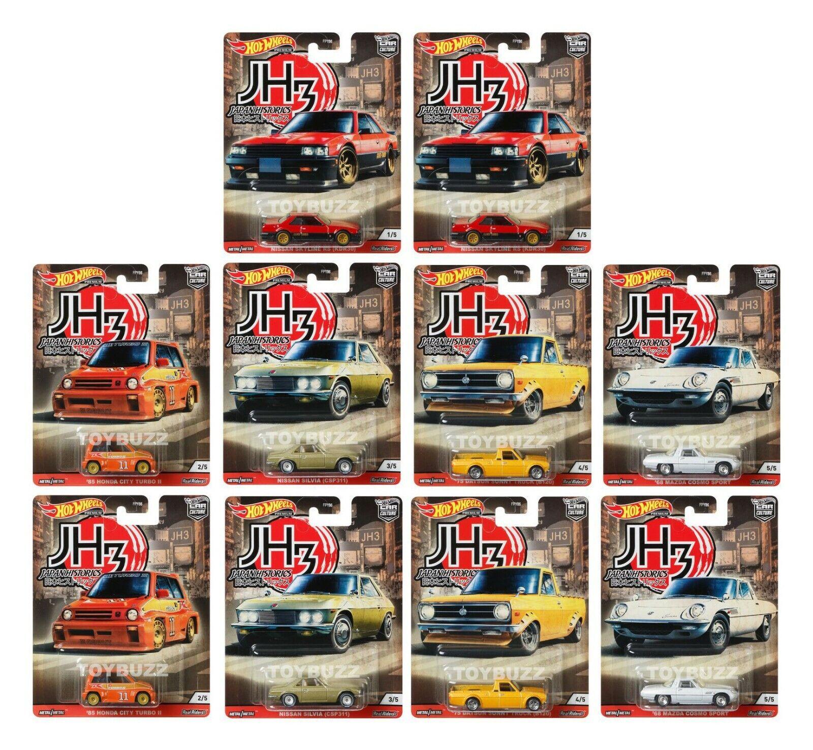 Hot Wheels 1:64 Car Culture Japan Historics 3 New Sealed case of 10 FPY86-956P