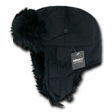 BLACK TRAPPER AVIATOR HAT Fur Bomber Cap winter ski ear flaps trooper S/M