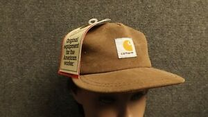 Vtg-Brown-Kids-Carhartt-Duck-Cotton-Canvas-Snapback-Hat-USA-Made-Adult-6-1-2-Max