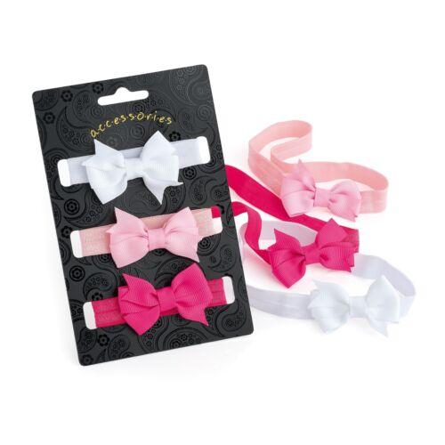 Envoltura De Banda De Cabeza Pequeño Diminuto Moños Rosa Blanco Elásticos Conjunto de 3 ESTIRAMIENTO-Soft-Safe