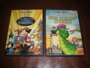 LOT-2-DVD-DISNEY-PETER-ET-ELLIOTT-LE-DRAGON-LES-3-MOUSQUETAIRES-MICKEY-DONALD