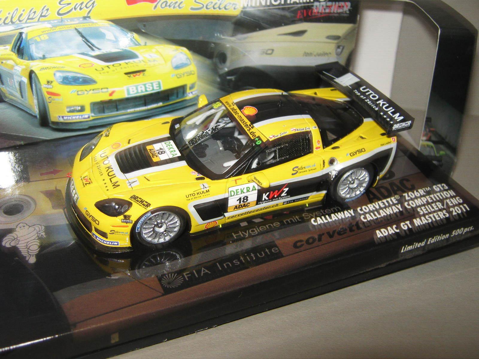 1 43 Corvette z06r gt3 ADAC masters eng Seiler 2011 Minichamps 437111418 OVP New
