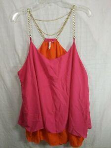 DOTS-Women-039-s-Plus-Pink-Orange-Gold-Chain-Straps-Flowy-Sheer-Dress-Top-size-2X