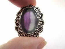 925 Silver Ring With Natural Cabochon Watermelon Flourite Size S  US 9 (rg2582)