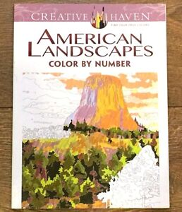 Details about ADULT COLORING BOOK AMERICAN LANDSCAPES COLOR BY NUMBER  CREATIVE HAVEN