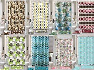 Printed 15-Piece Bathroom Set Bath Rugs Shower Curtain & Rings New Safari Flower